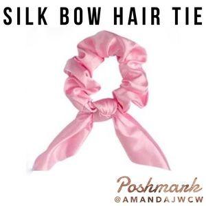 Silk Bow Hair Tie Scrunchie - Pink